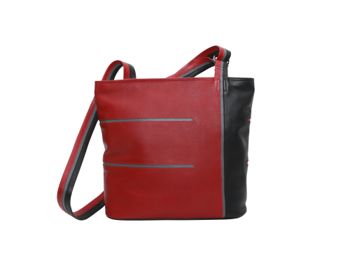 12887279d85 Exclusieve leren tassen Leren damestas Helsinki square zwart, rood ...